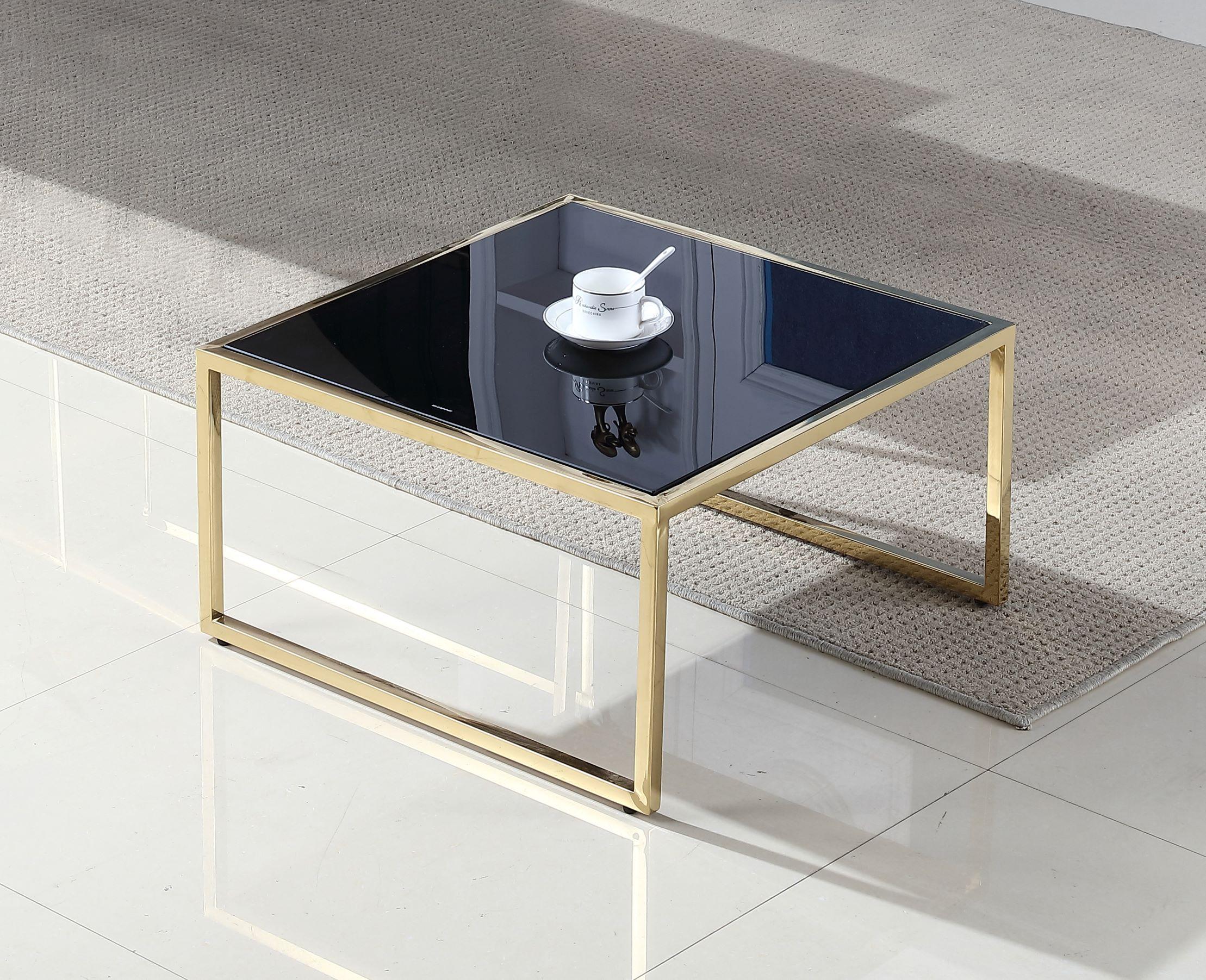 שולחן זכוכית מרובע דגם מאיה מסגרת זהב