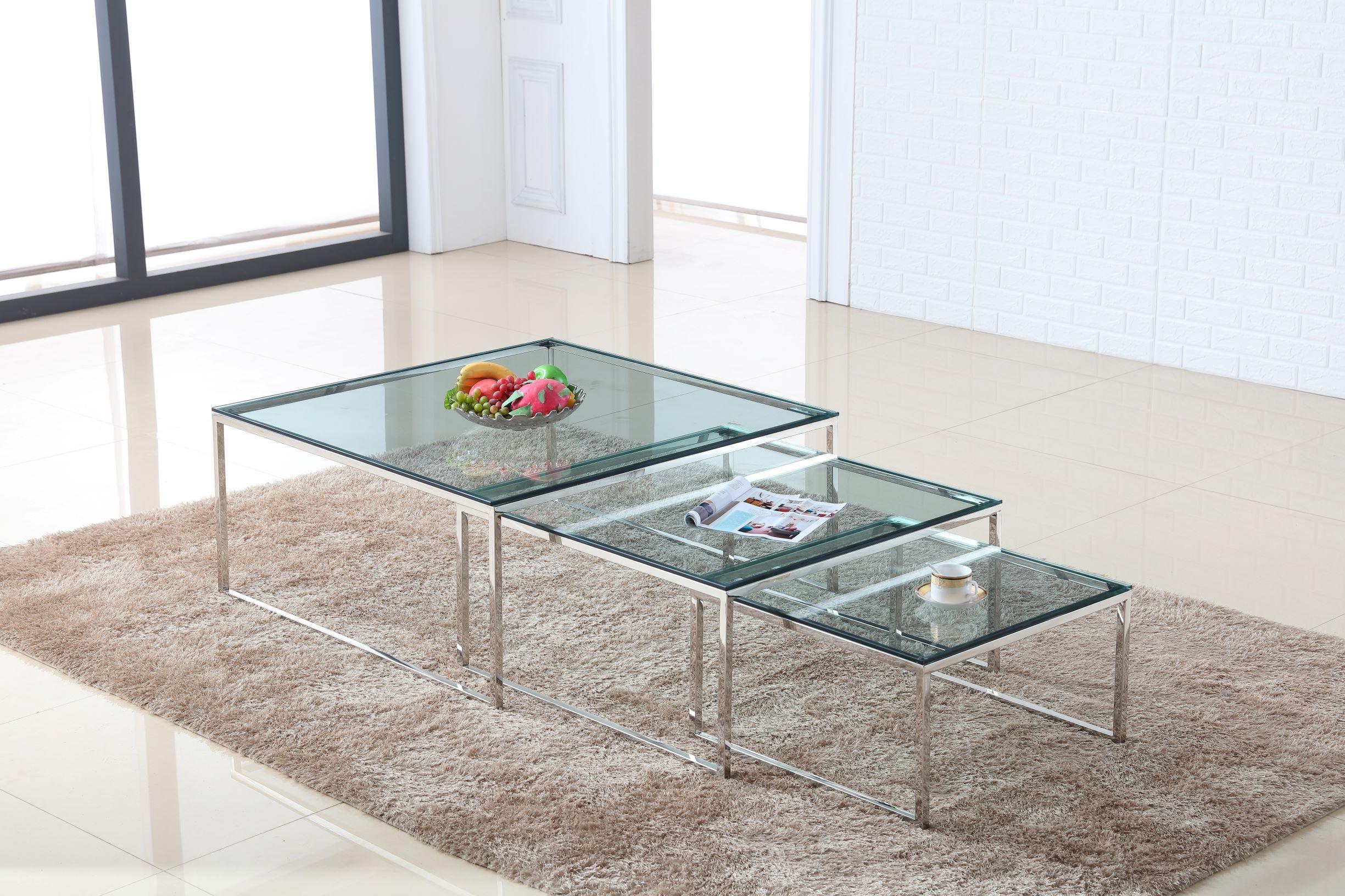 סט 3 שולחנות זכוכית מרובע מאיה נירוסטה שקוף 60 + 80 +100
