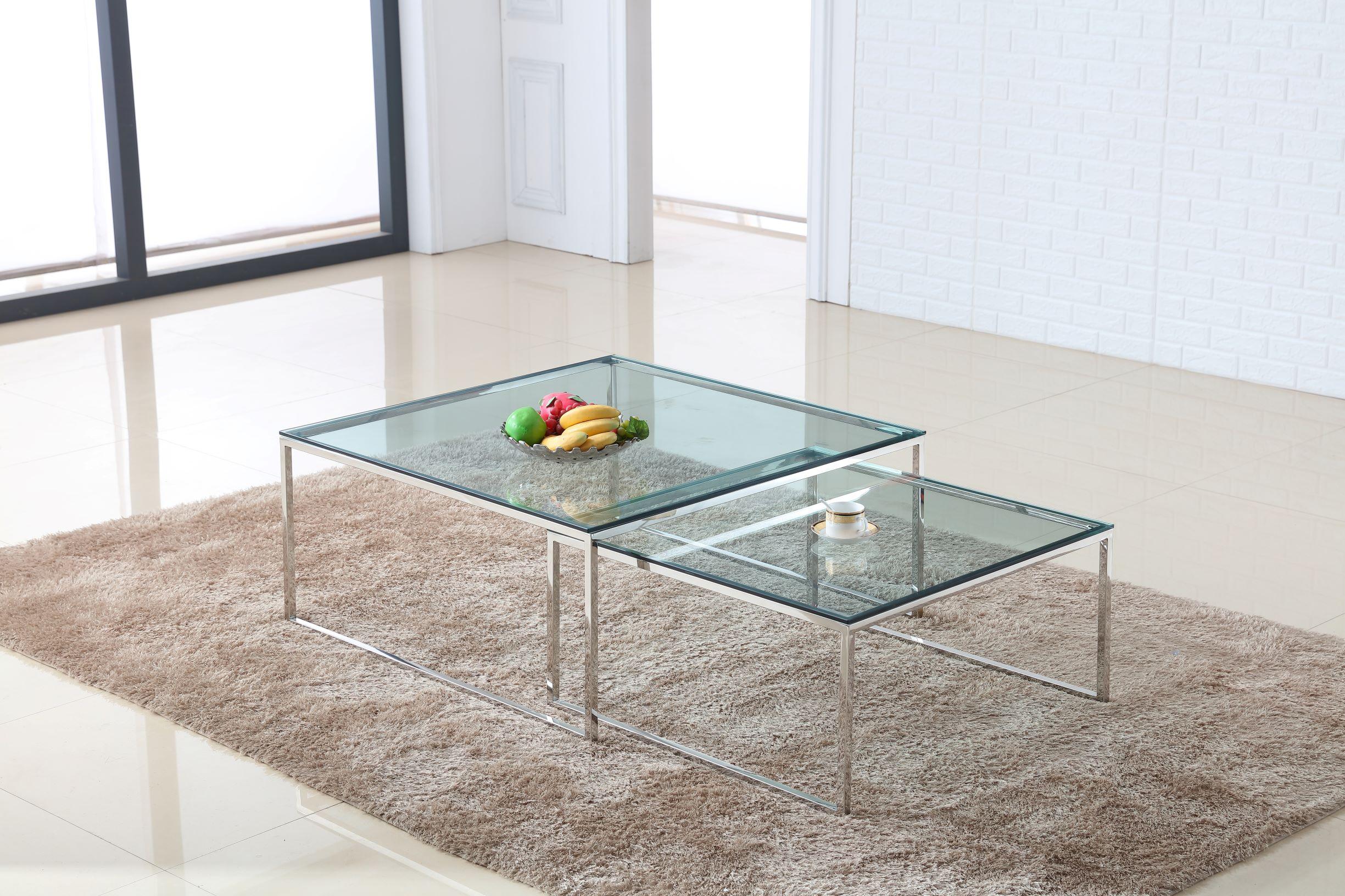 סט 3 שולחנות זכוכית מרובע מאיה נירוסטה שקוף 80 + 100