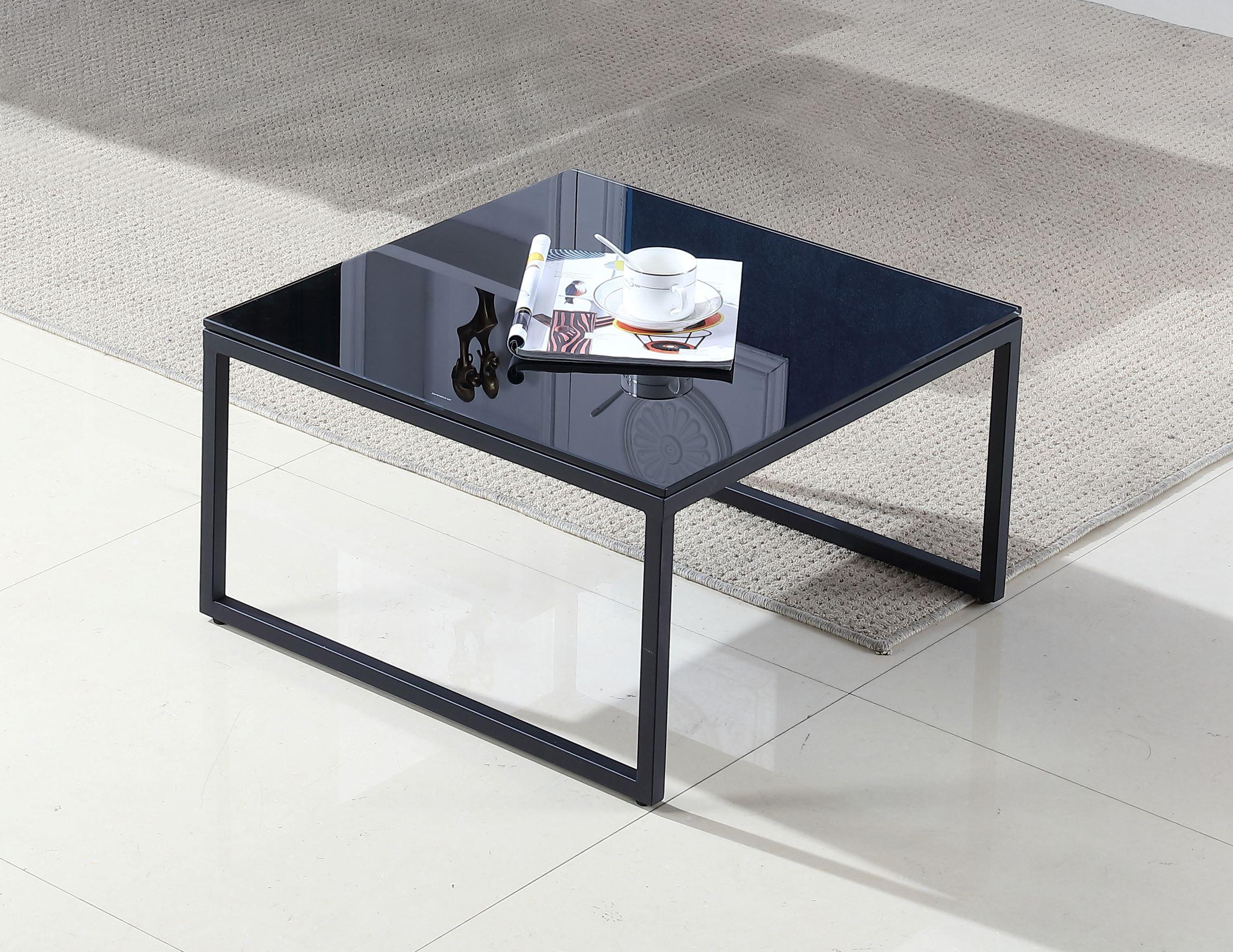 שולחן זכוכית מרובע מאיה שחור גודל 60