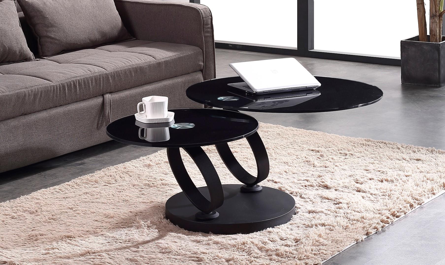 שולחן סלון יוקרתי דגם עגול 8857 שחור 8857-B (2)