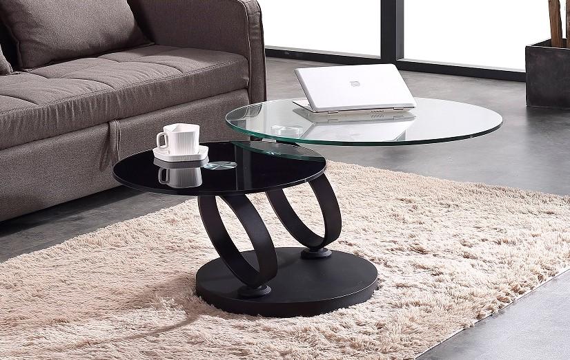 שולחן סלון יוקרתי דגם עגול 8857 חצי שחור