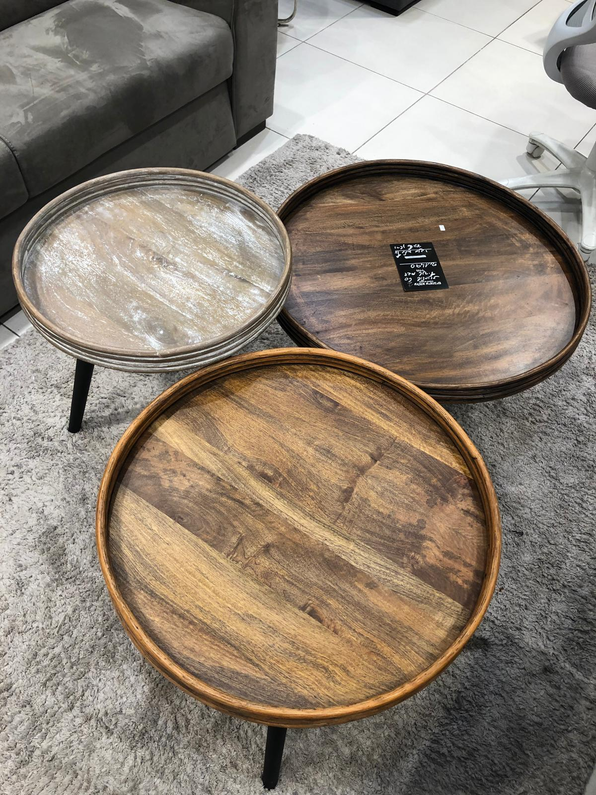 סט 3 שולחנות טנריף עץ מנגו מלא רגלי עץ צבעי חום